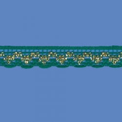 <strong>808/ 22/81</strong> - Handicraft Lace Trimming/ Green with gold