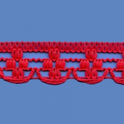 <strong>K880/ 6</strong> - Polyester Lace Trimming Malta/ Red