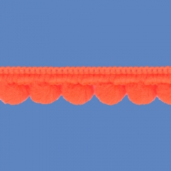 <strong>D35/ 7</strong> - Mini Pom Pom Loop Fringe Fluo/ Orange