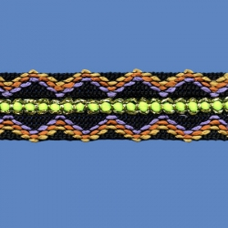 <strong>O11/ 2/14F</strong> - Diamond Gem Ribbon/ Black-Fluorescent yellow